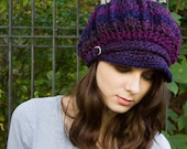 Purple Newsboy Hat Crochet Hat Womens Hat - Spring Monarch Ribbed Crochet Newsboy Cap Grape Purple Hat - Womens Accessories