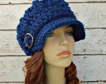 Crochet Hat Womens Hat Blue Hat Blue Newsboy Hat - Oversized Monarch Ribbed Crochet Newsboy Hat in Sapphire Blue - Womens Accessories