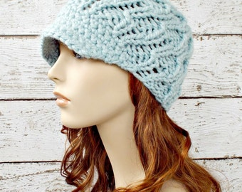Knit Hat Womens Hat Blue Newsboy Hat - Amsterdam Beanie in Mystical Blue Knit Hat Blue Hat Blue Beanie Womens Accessories - READY TO SHIP