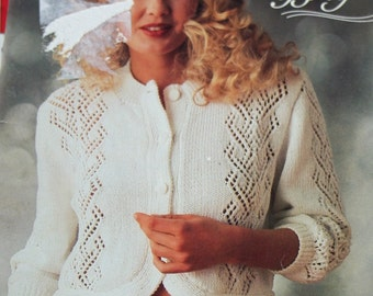 Sweater Knitting Patterns White and Bright Patons 670 Women Cardigan Vintage Paper Original NOT a PDF