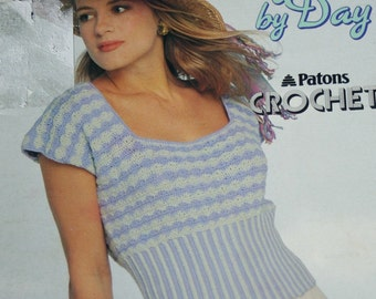 Sweater Crochet Patterns Women Day by Day Beehive Patons 624 Tank Top Summer Vintage Paper Original NOT a PDF