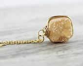 Peach Druzy Necklace, Champagne Necklace, Drusy Gemstone Necklace, Quartz Necklace, Gold Fill, Wire Wrapped Pendant, Square Necklace