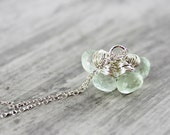 Light Green Necklace, Green Amethyst Necklace, Gemstone Necklace, Wire Wrap Necklace, Sterling Silver Necklace, Cluster Necklace