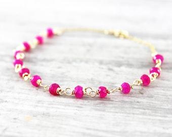 Hot Pink Bracelet, Gold Gemstone Bracelet, Chalcedony Gemstone Bracelet, Wire Wrap Bracelet, Bright Pink Bracelet, Delicate Chain Bracelet