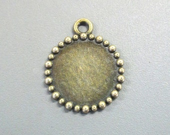 15mm Bezel Pendant Setting, Brass Plated, Pick your Amount
