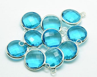 2 Faceted Round Glass Pendants, Ocean Blue Drops with a Smooth Silver Plated Bezel