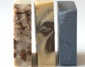 Bar Soap Three Pack,  Choose Own Scent, Gift Wrapped Holiday Soap, Gift For Her, Exfoliating Soap, Hostess Presents, Bundle of Soap