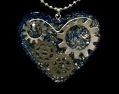 Mechanical Heart - Steampunk Gears Necklace - Resin