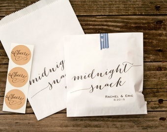 Wedding Favor Bags - Personalized - Midnight snack script - White - Wax Lined Bags - 20 White Bags