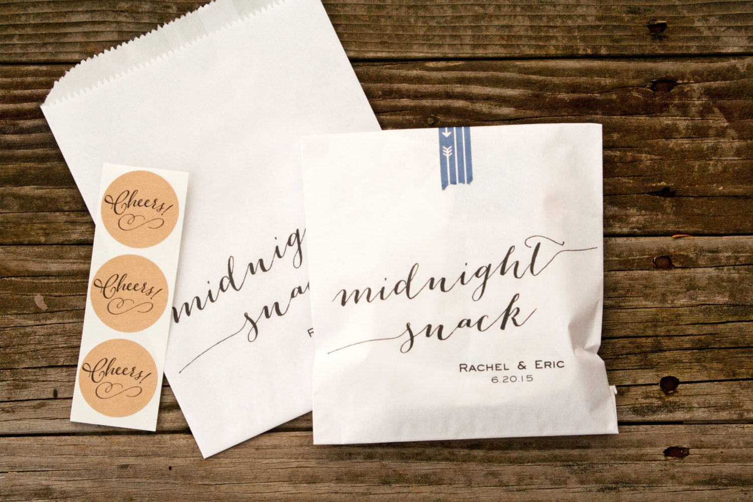 Wedding Gift Bag Snacks : Wedding Favor Bags Midnight snack script White Wax Lined