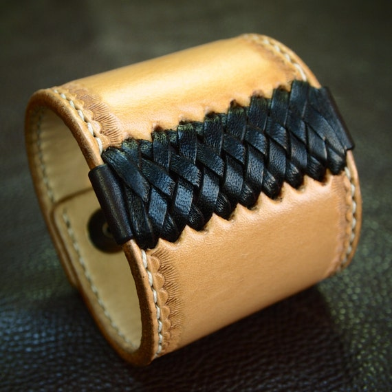Leather cuff Bracelet American Western Saddle wristband Handstitched Braided Stamped Handcrafted for YOU in NYC by Freddie Matara!