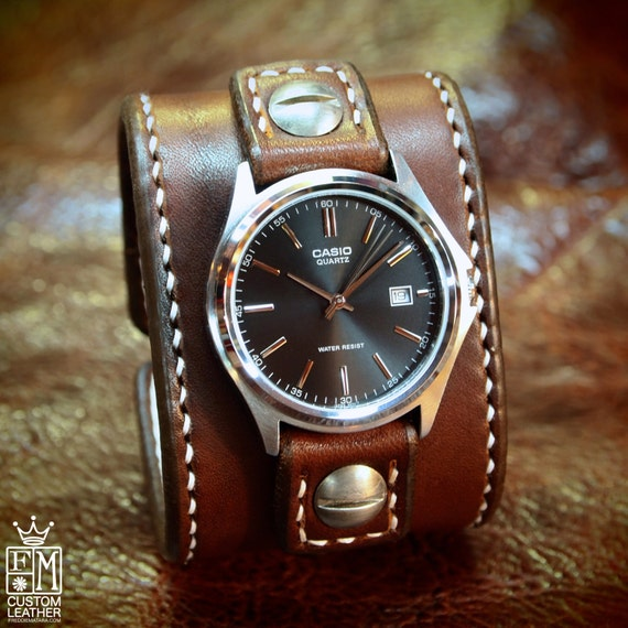 Leather cuff Watch -Vintage brown bridle leather handstitched watch band with Casio watch custom made for YOU in Brooklyn NY