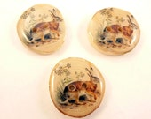 "3 Rustic or Primitive Vintage Rabbit Real Birch Wood Branch Decorative Sewing Buttons.  1"" or 25 cm Round."