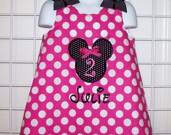 Hot Pink Dot Minnie Mouse Applique with Monogram A-line Dress Birthday Age Number
