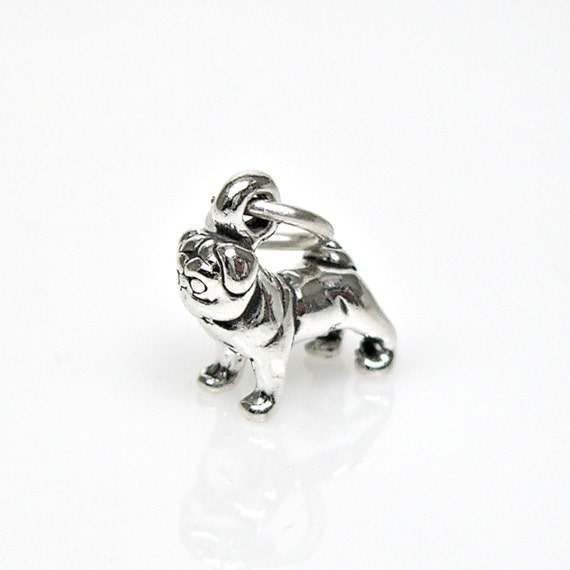 tiny pug sterling silver breed pet charm for bracelet or