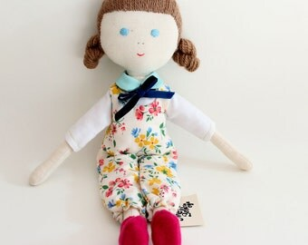 handmade fabric doll - happy girl with flowers