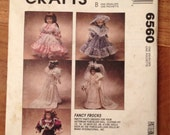 "Doll Clothes Pattern for 13"", 14"" and 16"" Dolls McCall's 6560 Wedding Gown and Victorian Dresses"