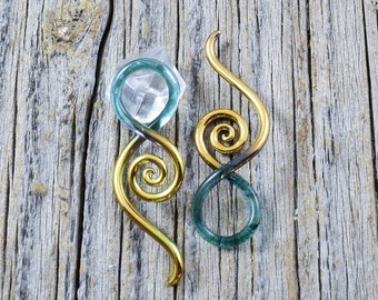 14G | Gold Tipped Sparkle Glacier | Mini Squids - Gauged Glass Body Jewelry for Stretched Piercings by Glassheart