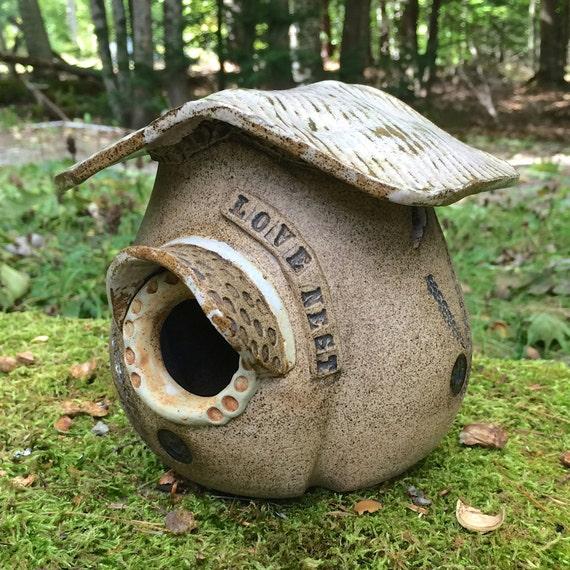 Decorative Ceramic Bird House-Love Nest Bird Shack-Garden