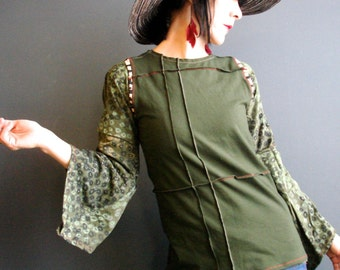 Revolution Earth - iheartfink Handmade Hand Printed Striped Trim Solid Olive Green Jersey Vest Top
