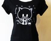 Adult Kitty Tee (S,M,L,XL,XXL) Black Zombie Kitty Cat Slash neck Organic T-shirt