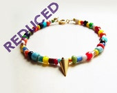 African Christmas Bead Bracelet with Matte Gold Spiky Cone Accent // Gift to Loved Ones // Happy Jewerly (WAS 14.75)