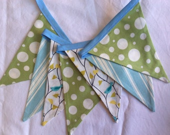 Baby Nursery Decoration, Fabric Bunting Banner 7 Medium Flags, Ready to Ship. Gender Neutral Earthy Theme. Birds and Trees.  Green and Blue.