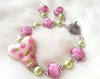 HOPEFUL ROMANTIC - Artisan Lampwork and Bali Silver Bracelet and Earrings Set
