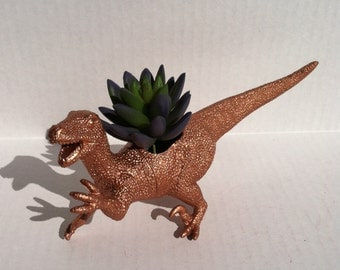 Bronze Dinosaur Planter for Succulent Plants Fun Office Decor