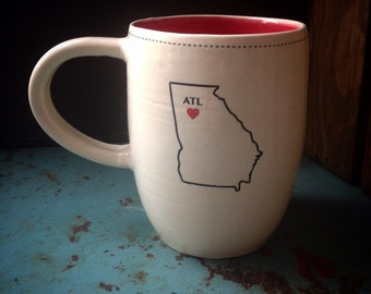 I heart Atlanta mug in red and white - READY TO SHIP