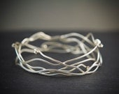 Sterling Silver Wave Bracelet, Modern Bangle Bracelet Set, Contemporary Stacking Bangle
