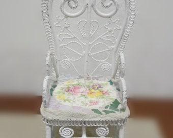 Miniature chair shabby chic broken china metal filigree chair fairy chair patio chair decorative chair