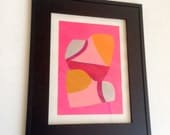 Framed Silver Orange  and Pink Abstract Gouache Painting Sneak