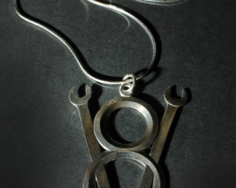 Wrench V8 Emblem Necklace in Sterling Silver