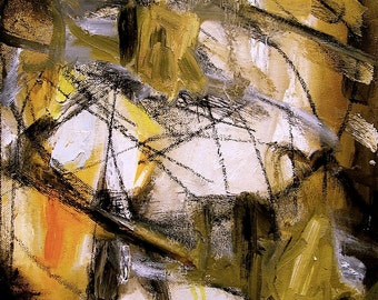 """Abstract painting, """"Acts of Enclosure (I), earth tones, ochre, amber, black charcoal, grey, white, 14 x 11 inches"""