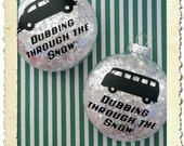Set of 2 Volkswagen Christmas Ornaments - Beetle Bug Kombi Bus - GREAT gift for the VW Lover !