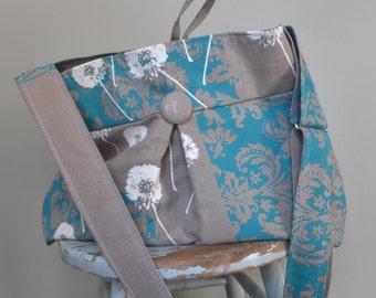 Grey Diaper Bag -Extra Deep Diaper Bag - 6 Pockets - Key Fob - Adjustable Strap