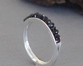 Black Spinel Ring, Black Ring, Anticlastic Ring, Gemstone Band, Gemstone ring