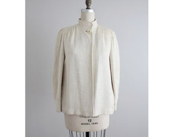 short cream coat / knit coat / funnel neck coat