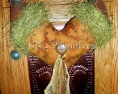 Primitive Folk Art Hanging Heart & Crows Decoration
