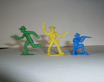 3 Vintage Plastic Toy Gunmen
