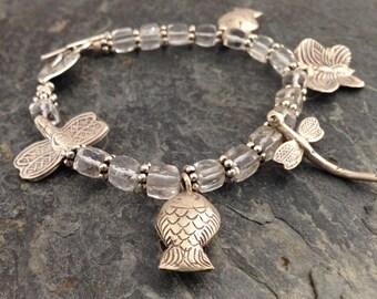 Gemstone quartz Hill Tribe Sterling Silver bracelet