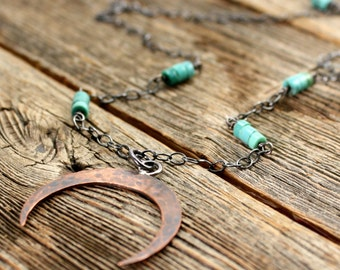 Mesa Diana Necklace in Copper, Sterling Silver, and Turquoise