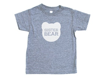 Sister Bear Kid's Heather Grey Triblend TShirt with White Print