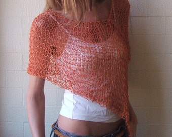 orange poncho  loose knit PONCHO Wrap light orange summer poncho wrap
