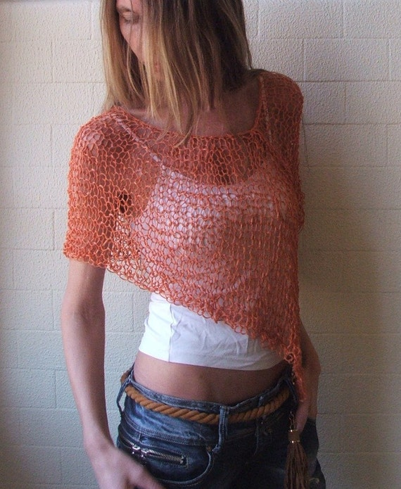 orange poncho  loose knit PONCHO Wrap light orange summer poncho wrap