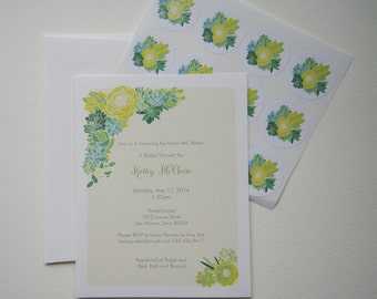 Succulent Bridal Shower Custom Invitation Set with Stickers