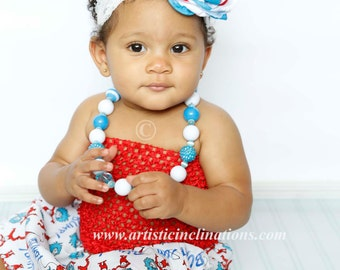 Thing 1 - Handmade Couture Flower Headband, Red Blue and White Headband, Girls Headband, Baby Headband, Cake Smash