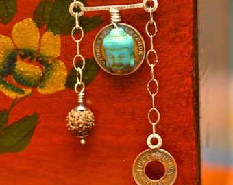 Ladakh Necklace  sterling silver, Buddha, Rudraksha Bead, old Indian Coin