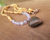 Long Wood and Stone Necklace - Lavender Purple Amethyst - Copper Heart Pendant - Wooden Beads - Boho Gypsy  - Hippie Funky Bohemian Jewlery